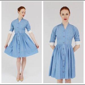 Authentic 1950s vintage blue cotton dress